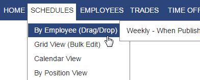 menu schedules by employee