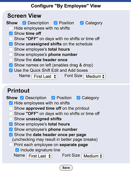 configure by employee view configure options