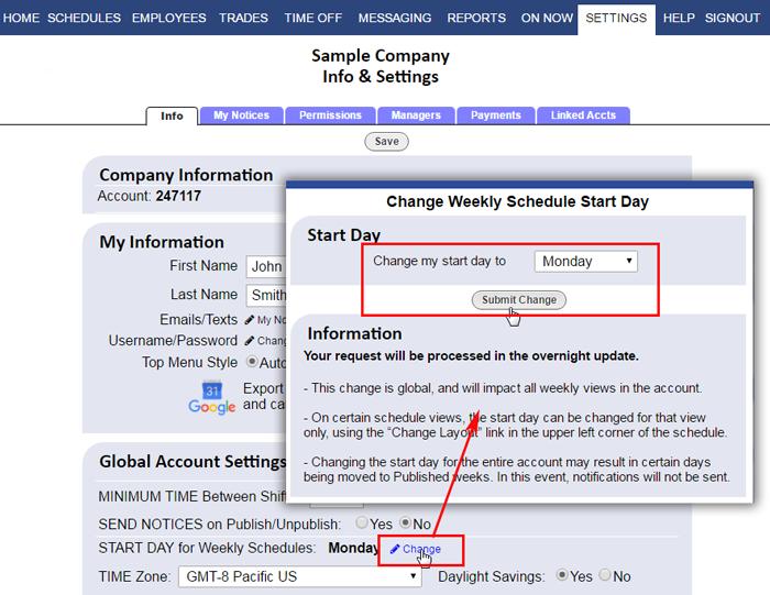 change start date settings info