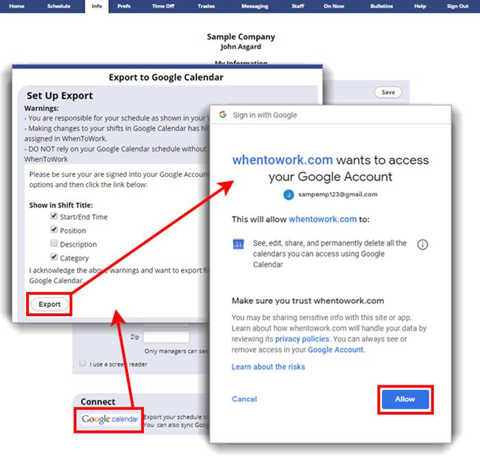 export to google calendar