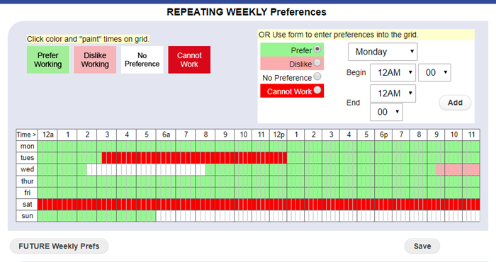 set repeating weekly preferences