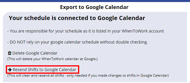 resend shifts to your google calendar