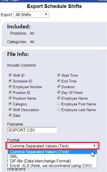 export schedule shift date fix