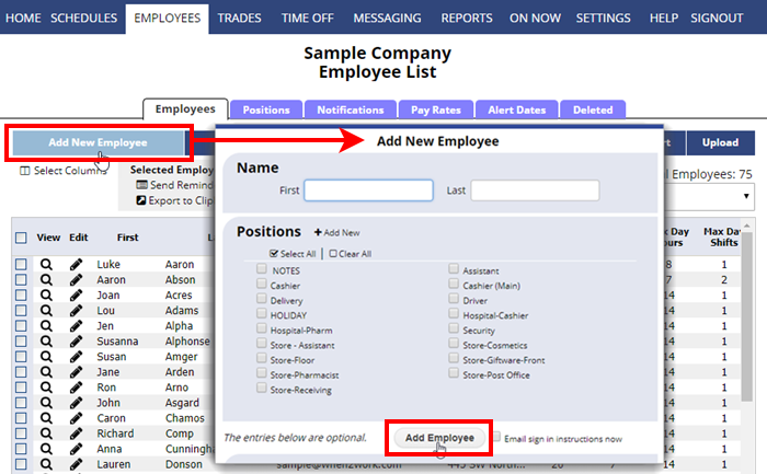 add employees