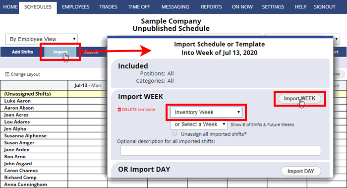 import template schedule