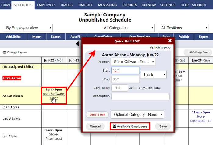 find replacement for a shift by employee view available employees quick shift edit