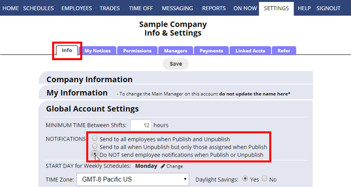 info global account settings send notices on publish unpublish automatic