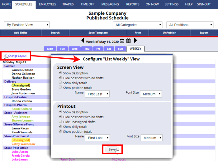 by position view weekly change layout configure