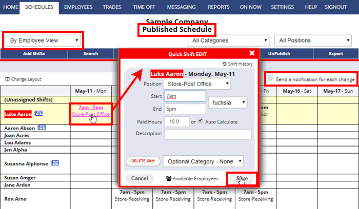 published schedule by employee view quick shift edit changes