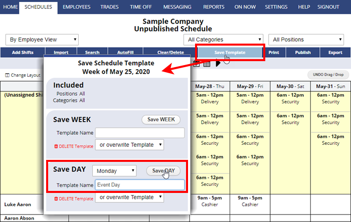 save day schedule template