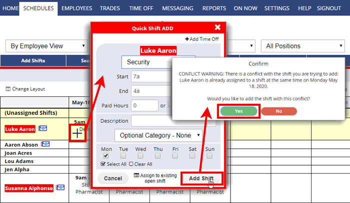 doublebooking overlapping shifts by employee schedule view conflict