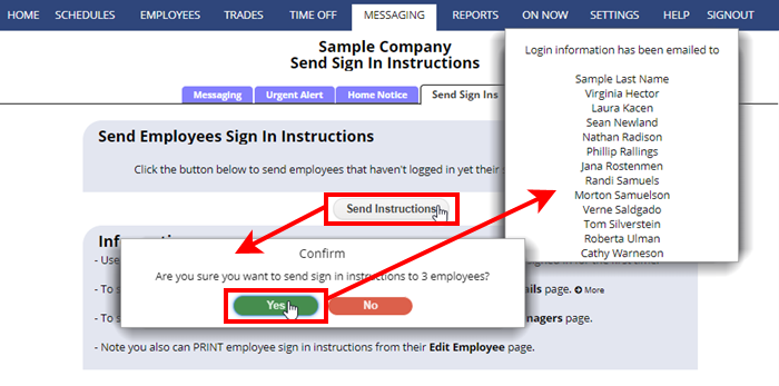 send employee sign in instructions