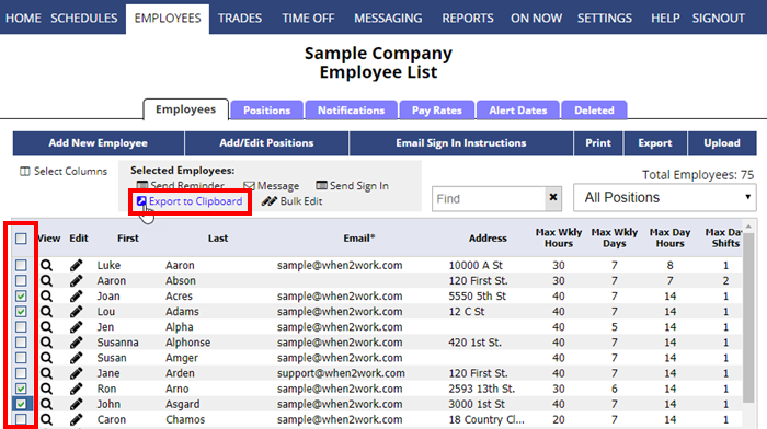 employees list export to clipboard