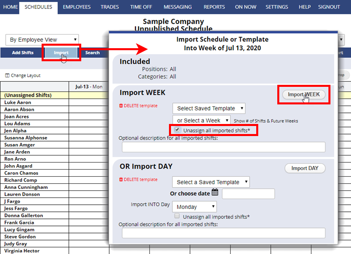 import week schedule unassign all imported shifts checked