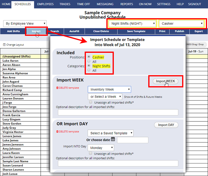 import filter category position only schedule week