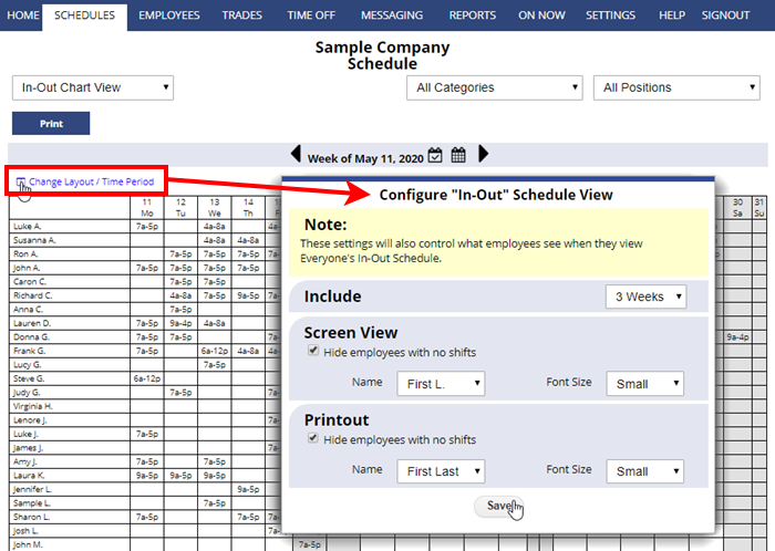 in-out chart view change layout configure