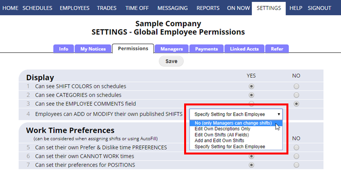 employee permission modify shifts options