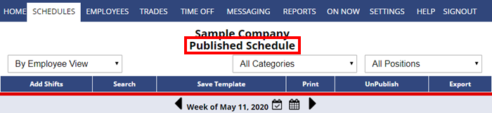 published schedule  - how the page looks after publishing
