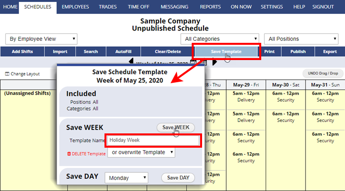 save template schedule week