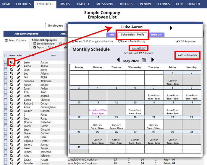 employees details schedule preferences view weekly print schedule