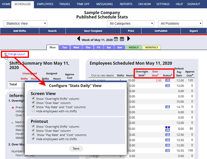 statistics daily view change layout configure
