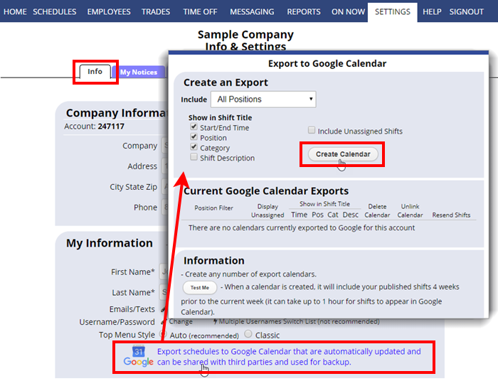 settings info export to google calendar