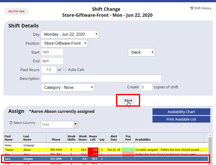 shift change assign replacement of available employees