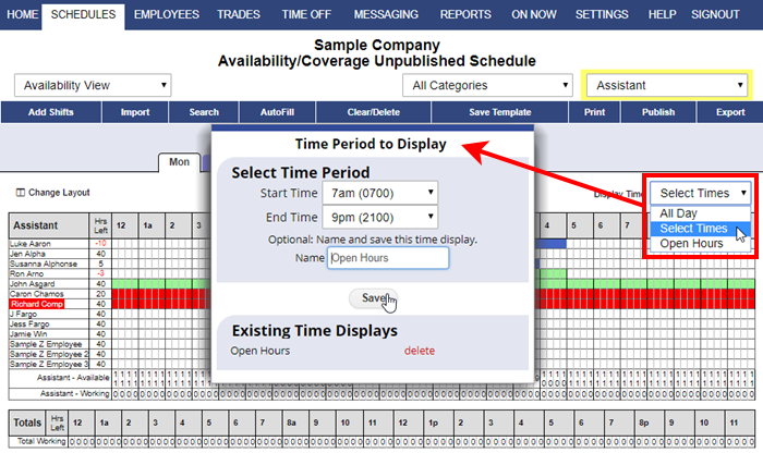 availability view time period display