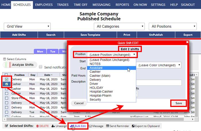 grid view bulk edit change position shift