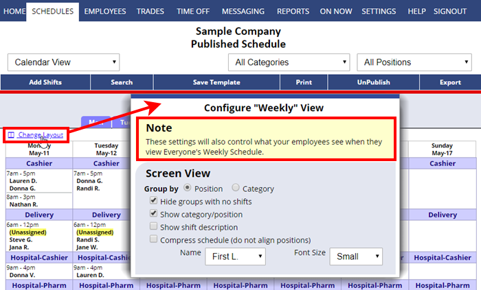 change layout set what employees can see