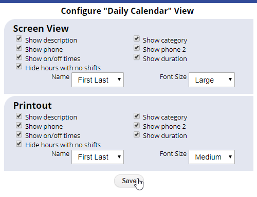 configure daily calendar view