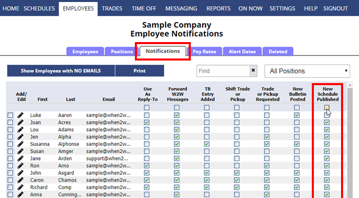 employees notification grid