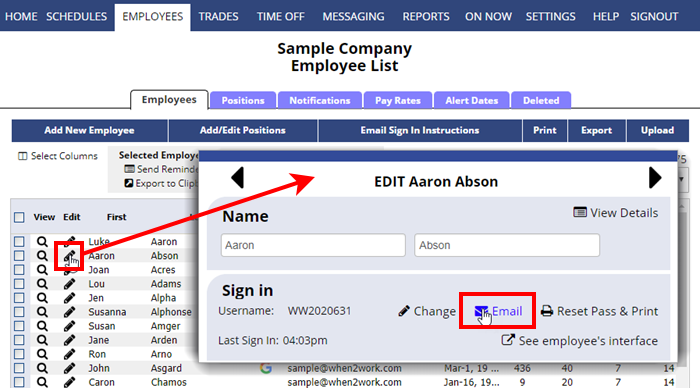 send individual employee sign in instructions
