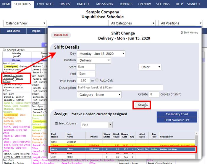 calendar view shift change assign