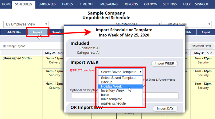 import template schedule week