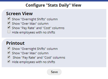 configure statistics daily view
