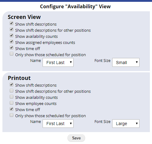 availability view configure options