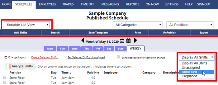 sortable list view weekly display autofilled