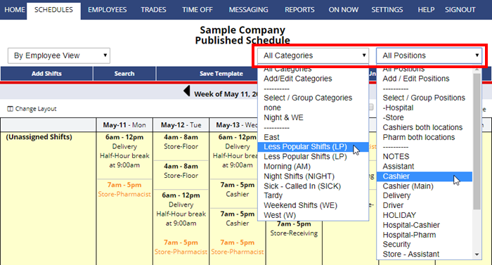 filter a schedule view categories positions