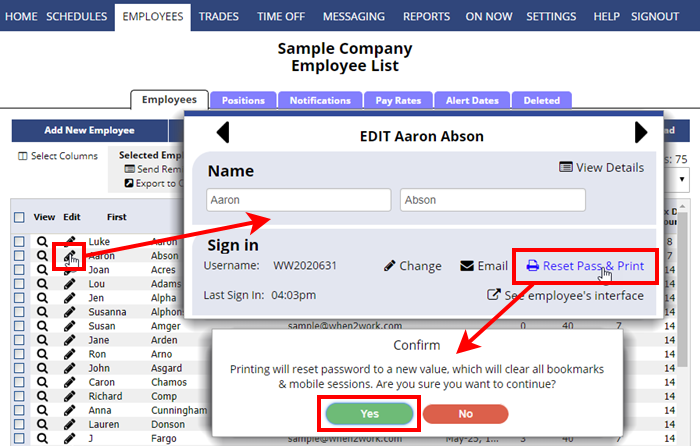reset pass and print sign in instructions for individual employee