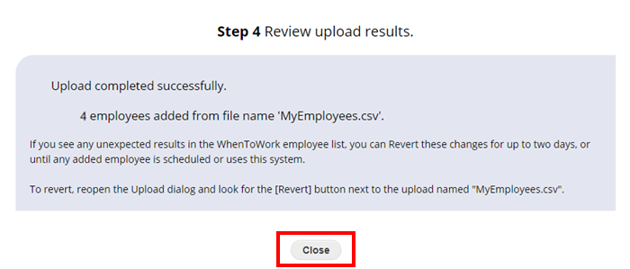 uploading employees step 4 review upload results