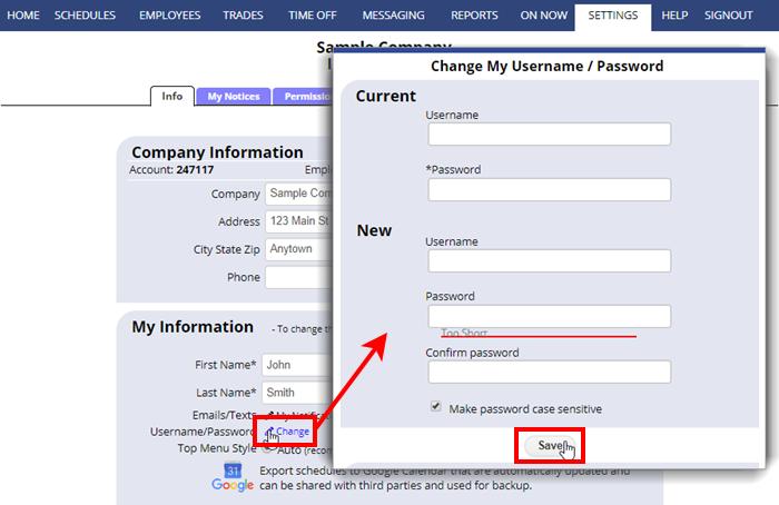 change username or password