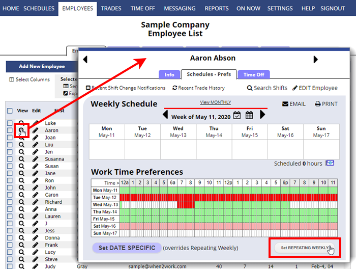 employee details schedule preferences set repeating weekly
