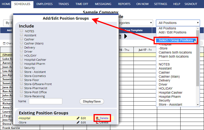 delete position group