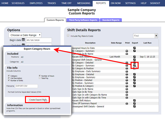 export employee hours custom reports