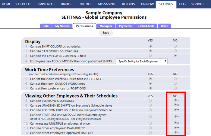 settings permissions viewing other employees and their schedules