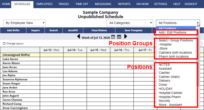 positions and position groups on the by employee schedule view