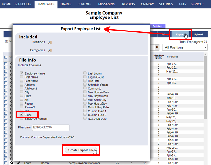 export employee list email