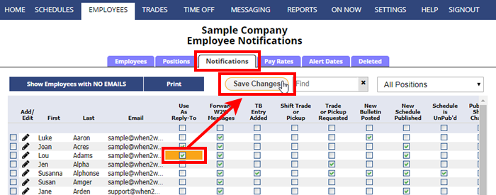 employee notifcations