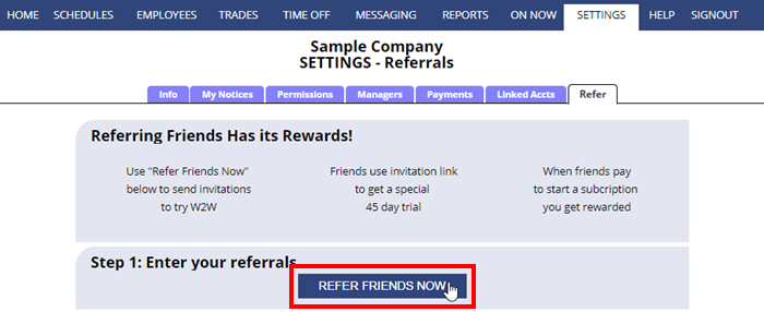 Refer a friend step 1
